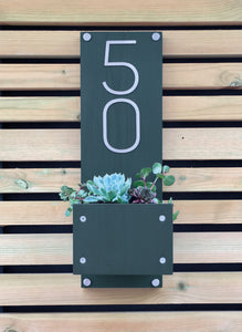 House Number Sign with Planter - Anthracite Grey