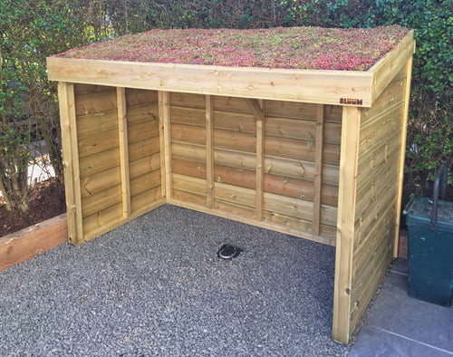 Sedum roof bike shelter made from pressure treated wood, hand made in Bristol