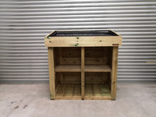 Recycling waste box storage unit with living growing planter roof