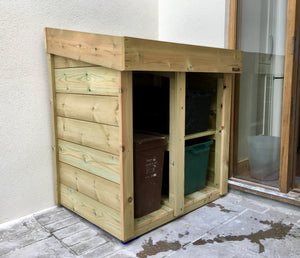 Recycling boxes and food waste caddy storage garden tidy unit