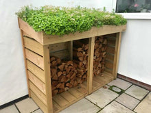 Bluum Stores Maxi Log Store for outdoor firewood storage. Green roof living planter / planting top for sedum, succulents, alpines, grasses or herb garden.