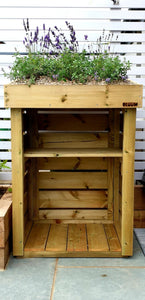 Mini log store, shown with kindling shelf. Wood storage box with green roof planter