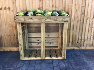 Alpine plants, succulents and sedum can be planted in the roof of a Bluum Log Store.  High quality firewood storage