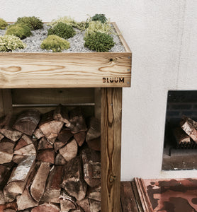 Modern look to the front of your house with a Bluum log and firewood storage unit and its green living roof planter for sedum, succulents, alpines, grasses and herbs