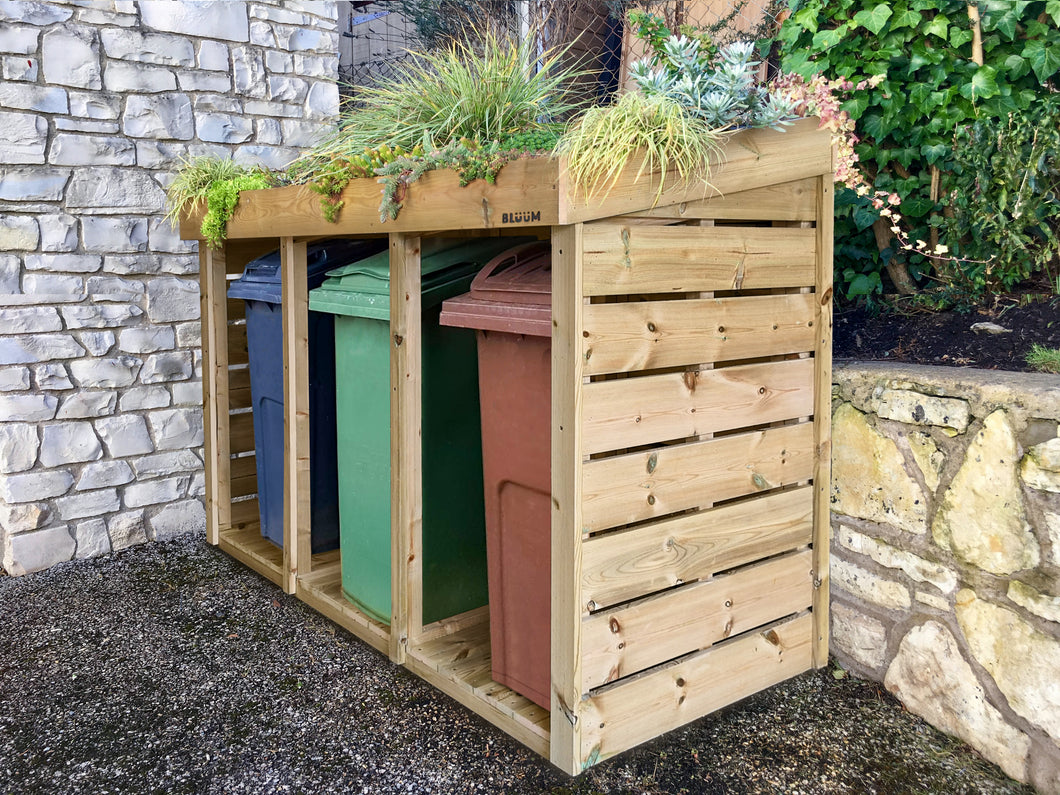 Triple wheelie bin storage with living green roof planter for front garden refuse storage with a planter top