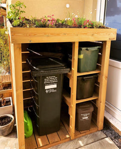 Attractive outdoor bin storage for wheelie and recycling boxes