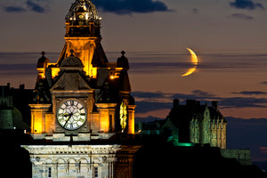 Balmoral, Edinburgh Castle and Moon 9 Sept 2013