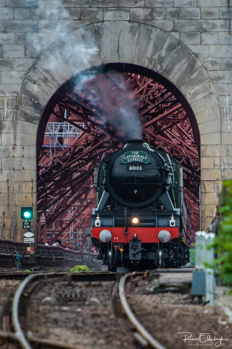Flying Scotsman approaching North Queensferry