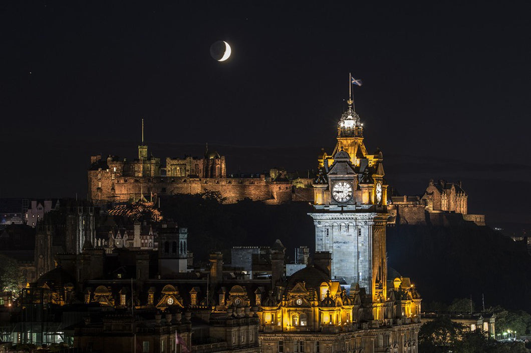 Moon and Saturn over Castle