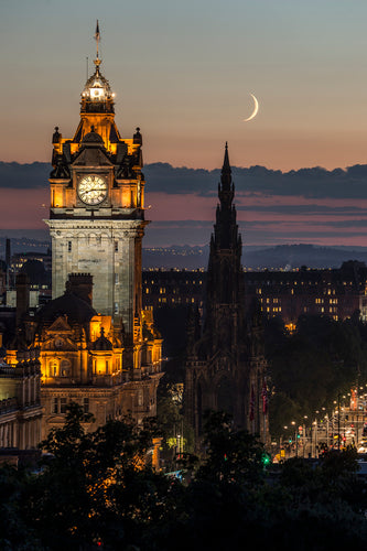 Moon over Princes Street 16 September 2015