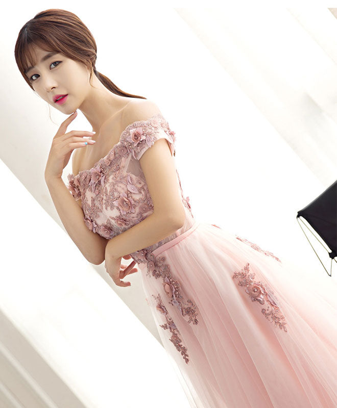 Beautiful pink tulle lace long prom dress, pink evening dress