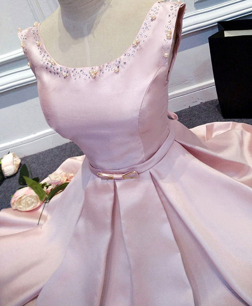 Pink round neck satin short prom dress, pink evening dress