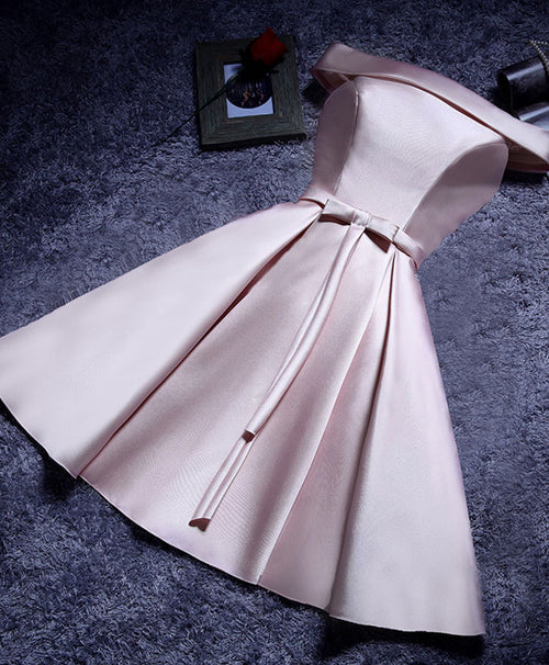 Simple A line satin short prom dresses, evening dresses