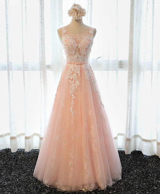 Pink round neck lace tulle long prom dress, lace evening dress