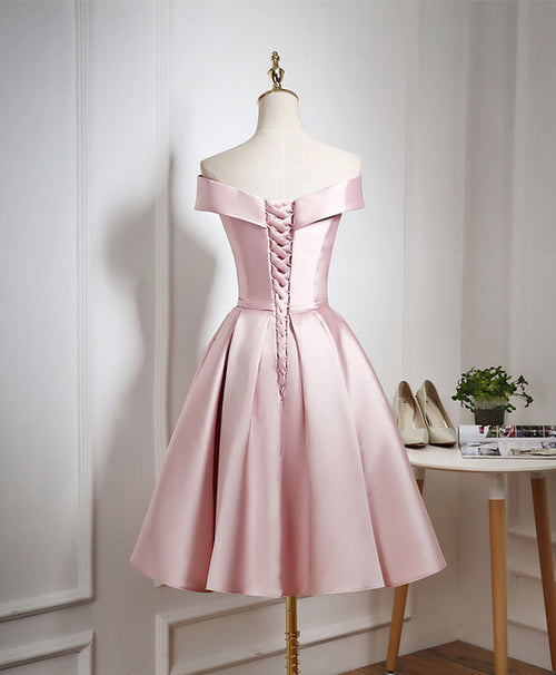 Cute pink A line short prom dress, pink evening dress