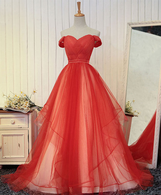 Custom made  tulle  off shoulder long prom dress, evening dress