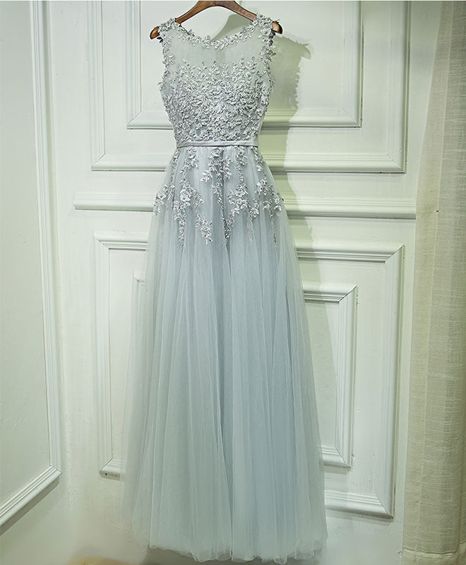Gray lace tulle long A line prom dress, gray evening dress