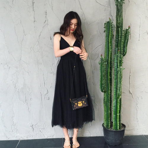 Black v neck tulle dress, black dress