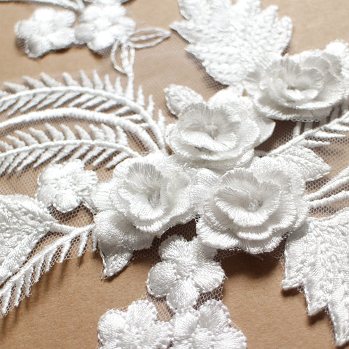 White 3D lace applique
