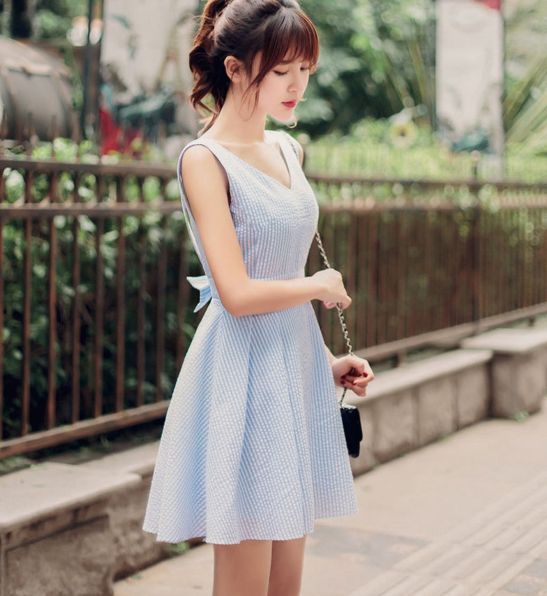 Cute blue v neck short dress with bow, summer dress
