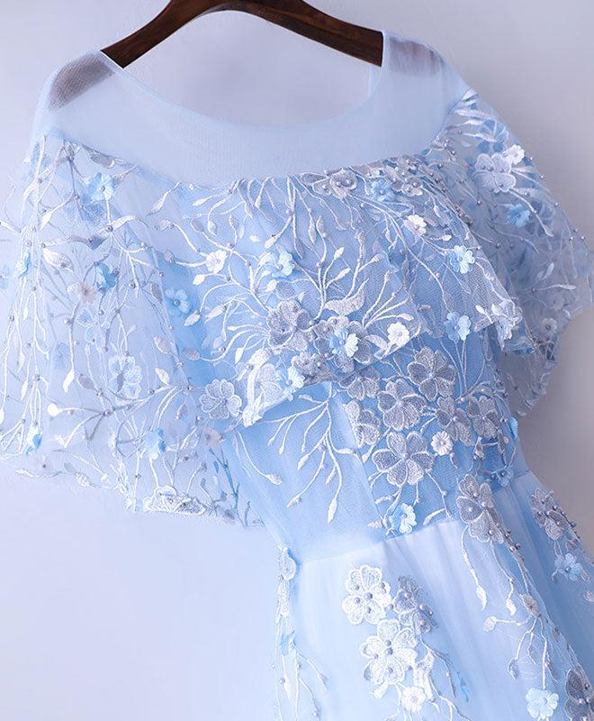 Light blue tulle lace long prom dress, evening dress