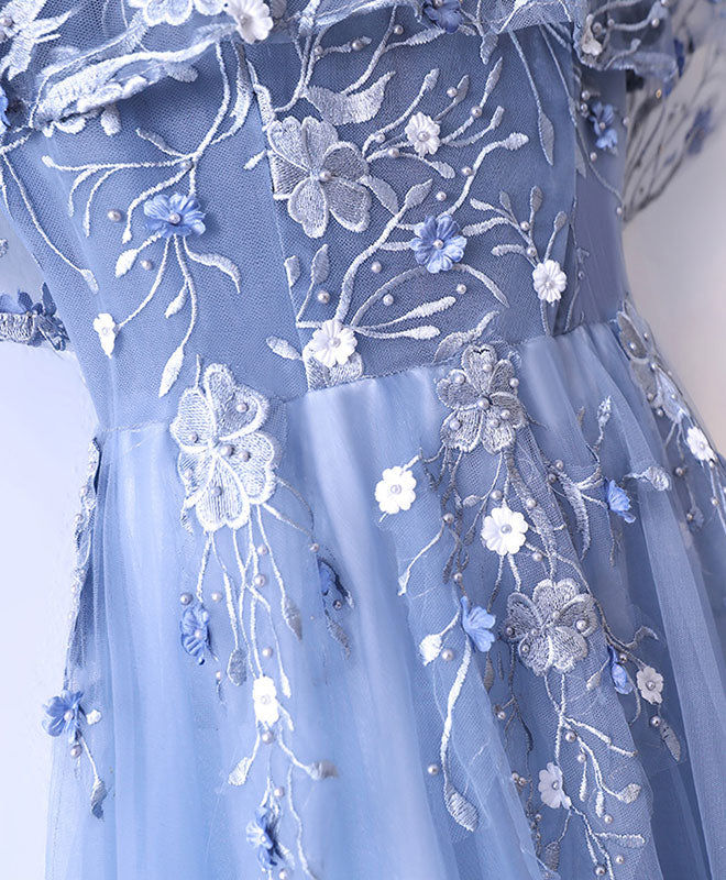 Blue tulle lace long prom dress, cheap evening dress