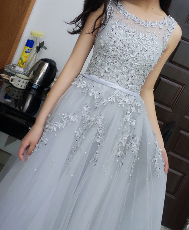 Elegant lace tulle long A line prom dress, evening dress