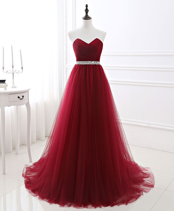 Burgundy sweet neck tulle long prom gown, evening dress
