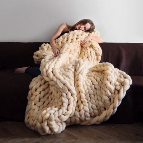 Champagne chunky knit blanket knitted blanket, chunky blanket, bulky gift