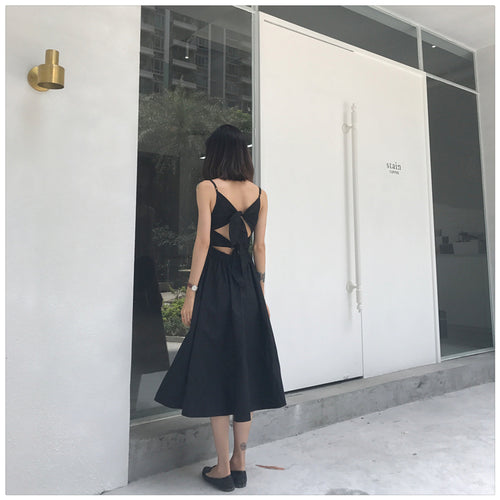 Stylish black v neck party dress, summer dress