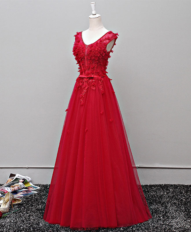 Custom made v neck tulle long prom dress, evening dress