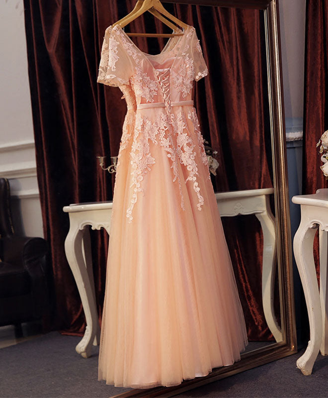 Pink lace tulle long A line prom dress, pink evening dress