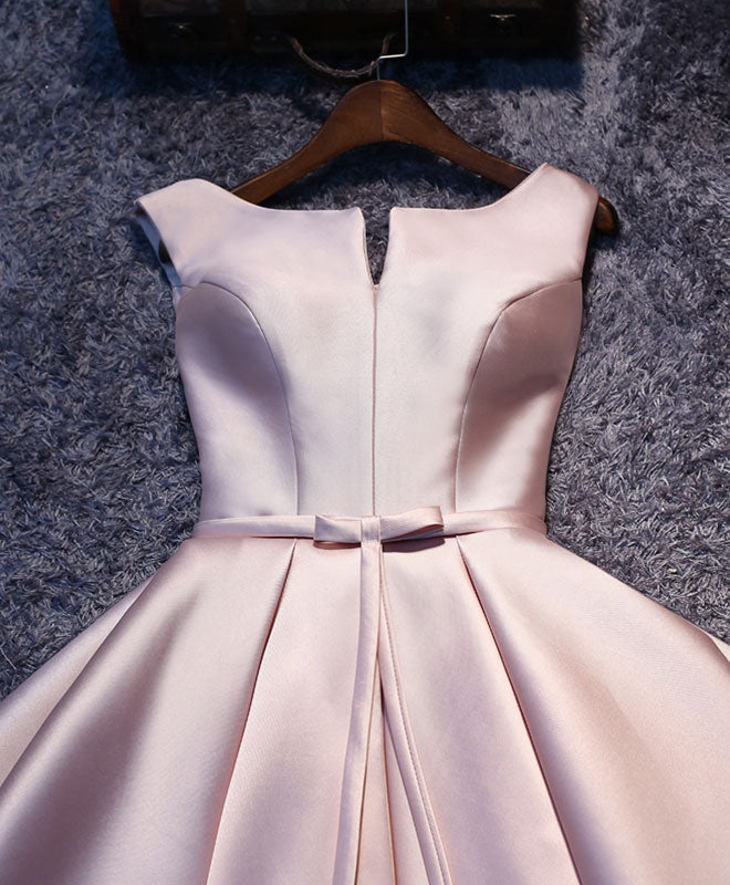 Simple pink A line satin short prom dress, homecoming dress