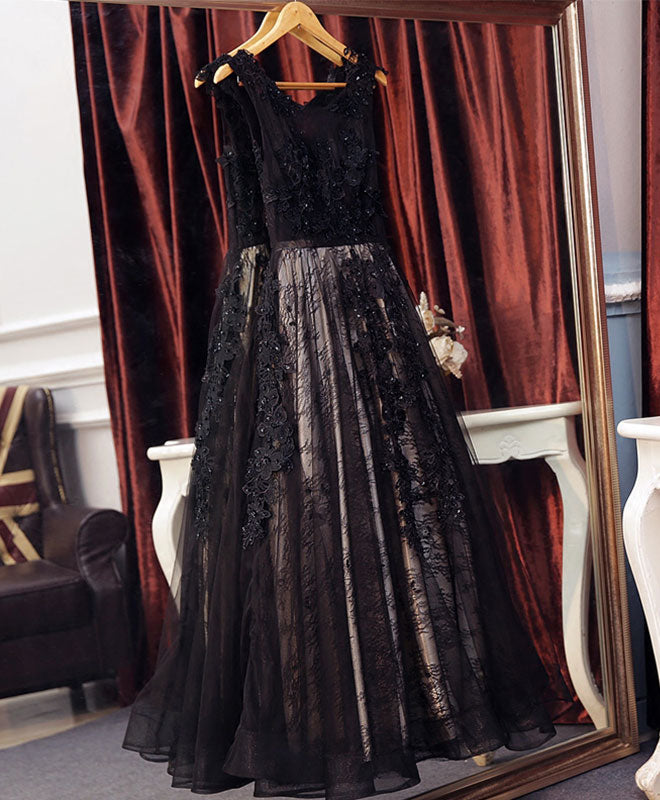 Black lace tulle long A line prom dress, black evening dress