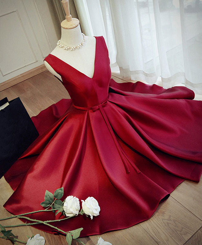 Simple burgundy v neck short prom dress, burgundy evening dress