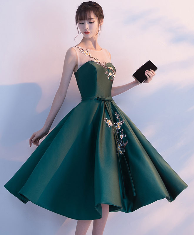 Green round neck lace short prom dress, homecoming dress