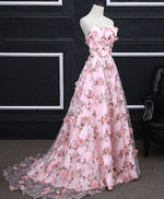 Pink tulle 3D flowers long prom dress, pink evening dress