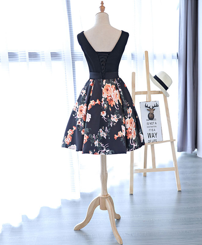 Cute v neck floral pattern short prom dress, homecoming dress