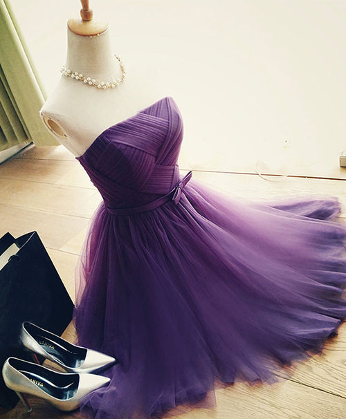Cute A line tulle short prom dress, bridesmaid dress