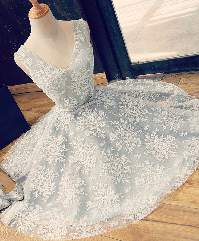 Cute v neck lace short prom dress, lace evening dress