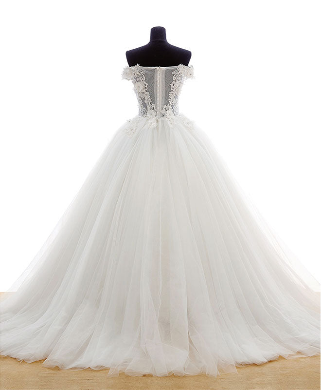 Amazing white tulle lace long prom gown, formal dress