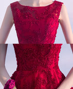 Burgundy high low short prom dress, homecomig dress