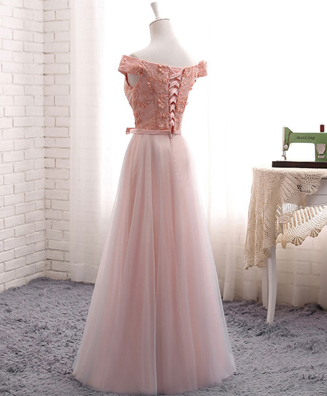 A line lace tulle off shoulder long prom dress, evening dress