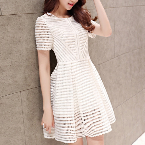 Stylish white round neck short dress, party dress