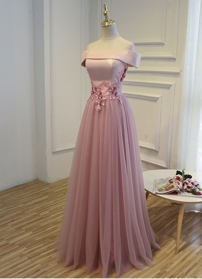 Pink A line off shoulder floor length prom dress, lace evening dress