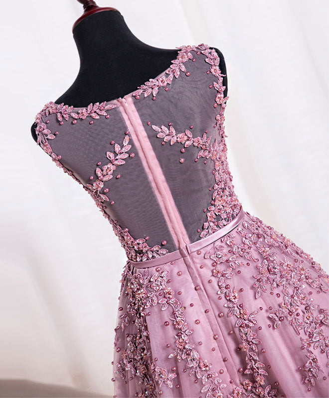 Cute pink lace tulle short prom dress, pink evening dress