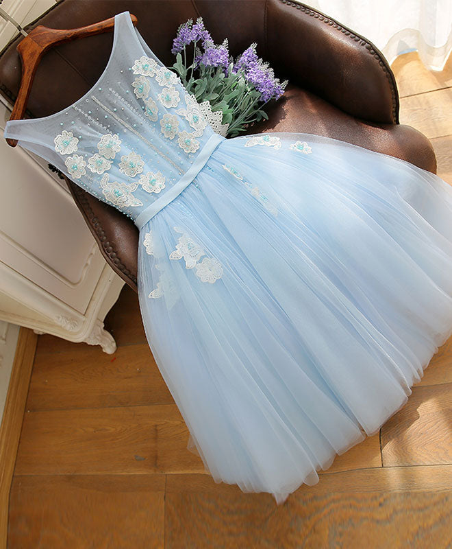 Cute sky blue lace tulle short prom dress, homecoming dress