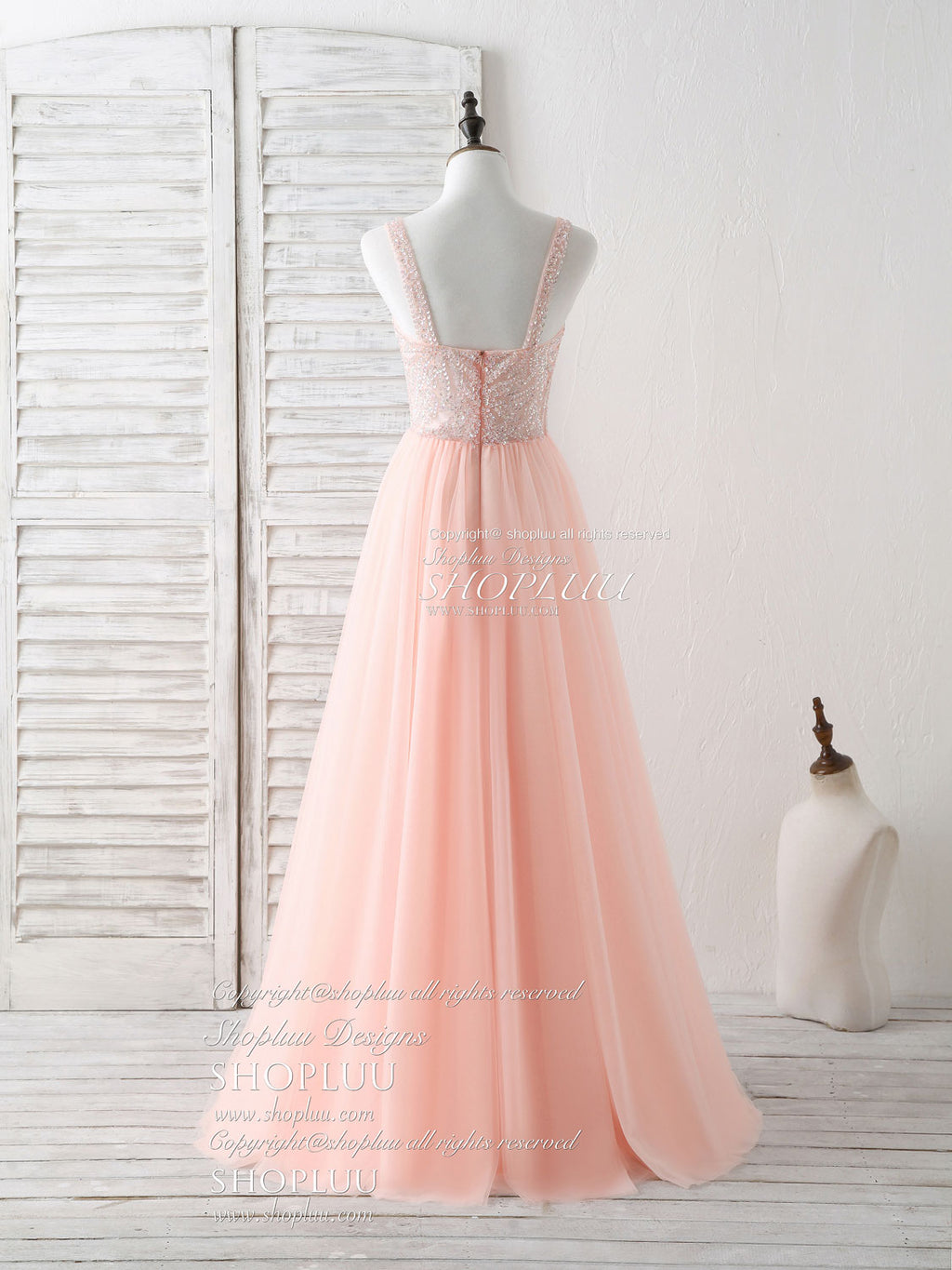Unique tulle beads long prom dress, tulle evening dress