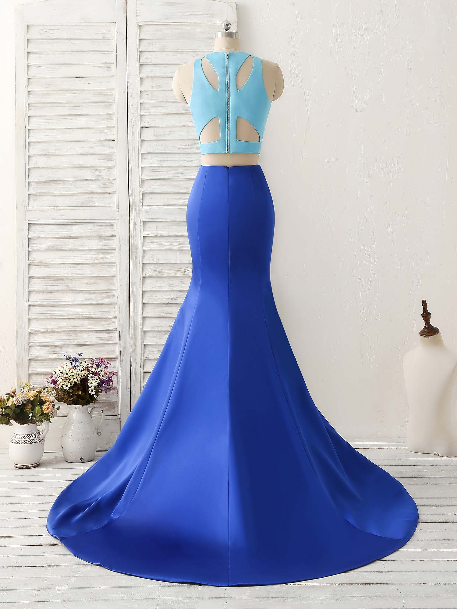 Royal blue two pieces satin long prom dress, blue evening dress