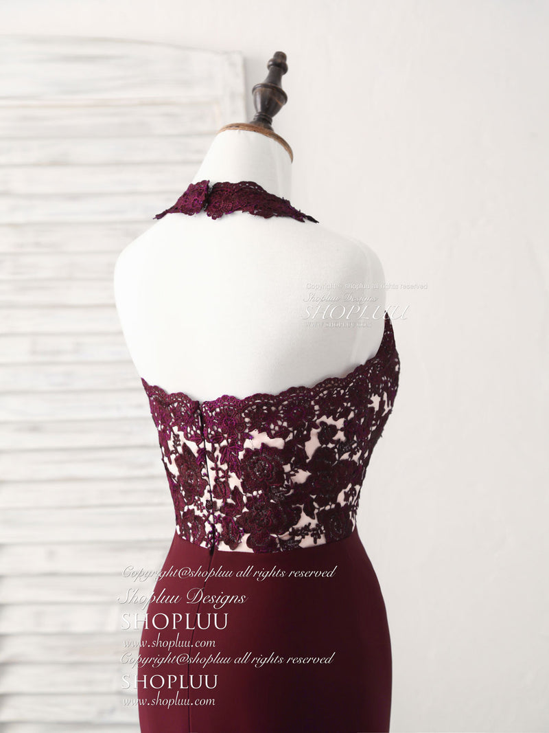 Burgundy lace mermaid long prom dress burgundy bridesmaid dress